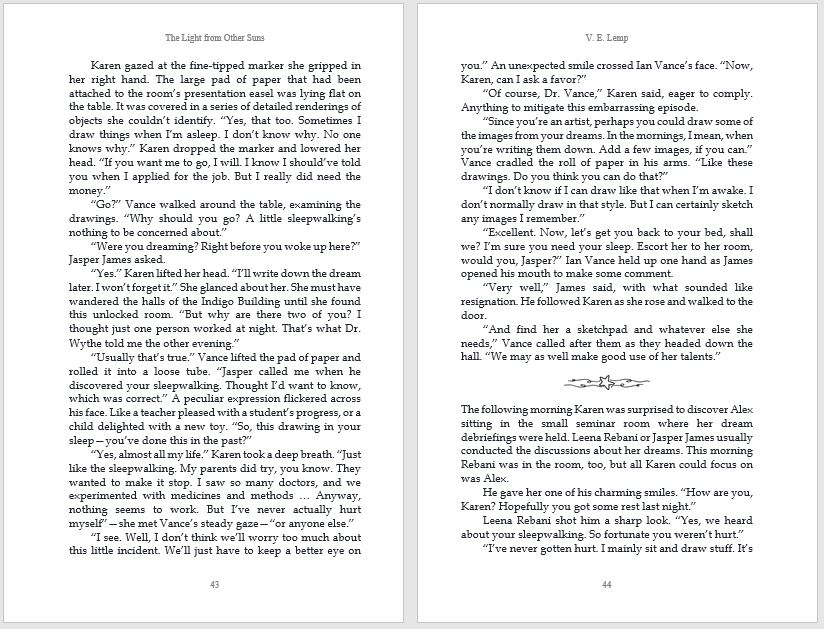 Book interior formatting for The Light from Other Suns by V.E. Lemp