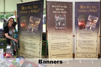large, retractable vinyl banners to advertise books at festivals and more